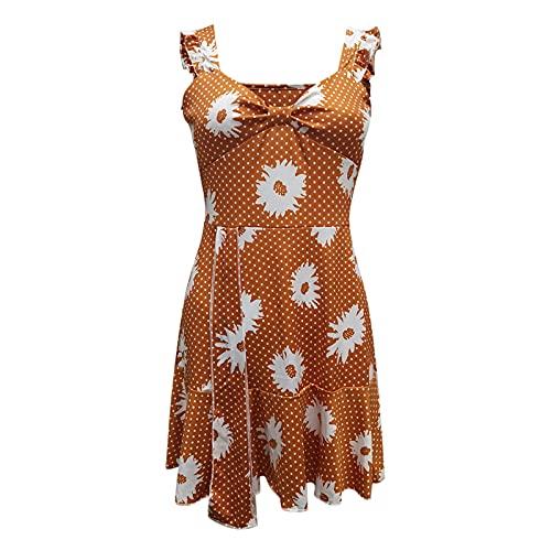 Liably Vestido de verano para mujer, estampado de corte bajo, sexy, con tirantes anchos, elegante, informal, ajustado, de cintura alta, multicolor, retro, para fiestas, naranja, L