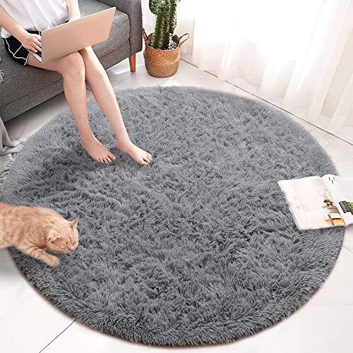 QUANHAO Plüsch Teppich Super weicher Faux Flauschiger Samt Moderne Flauschige Innenteppiche,Lange Haare Fell Optik Gemütliches Bettvorleger Sofa Matte (grau, 100x100cm)