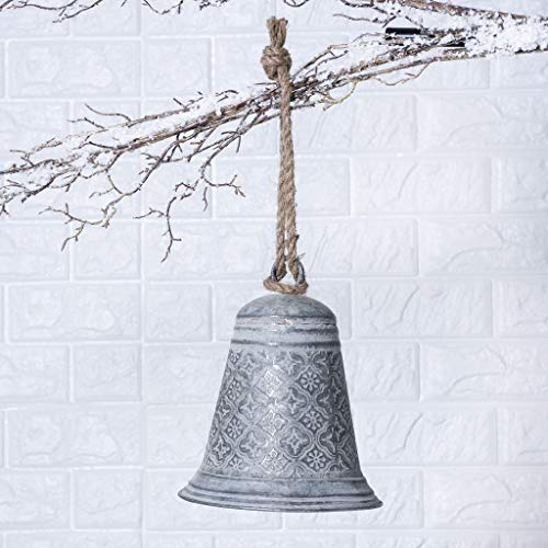 Darby Creek Trading Antiqued Silver Metal Filigree Rustic Farmhouse Bell Ornament with Jute - 2 Size Options