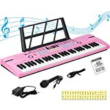 24HOCL Electronic Keyboard Piano, 61 Key Kids Piano Keyboard Portable Digital Music Learning Keyboard with Stand, Microphone, UL Adapter Best Gift for Boys & Girls, Pink