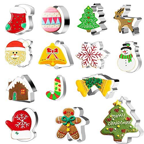 CNXUS 14 Stück Weihnachten Ausstechformen Set, Ausstecher Set Plätzchenformen aus Edelstahl Keksausstecher für Backen von Keksen,Plätzchen,Dekoration von Kuchen,Glasur,Fondant und Zuckerkreationen