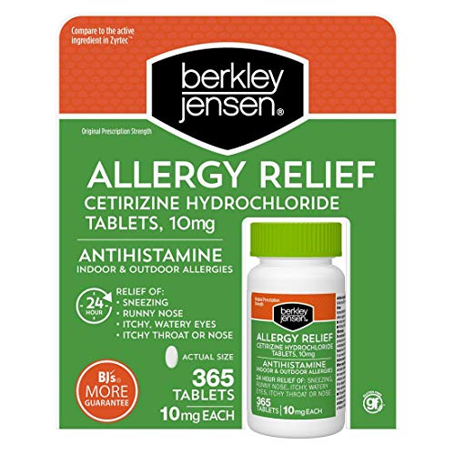 Berkley and Jensen 10mg Cetirizine Hydrochloride Antihistamine Tablets - 365 Count