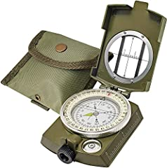 Tritium Lensatic Compass for hiking waterproof protection always direct you in the right direction. Best camping survival compass for field trip. Multifunction Military Grade Compass consists of rugged metal body with foldable metal lid - Floating Az...