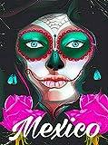 ABLERTRADE Póster metálico Decorativo para Pared, diseño de Calavera de México Día de los Muertos, 20 x 30 cm