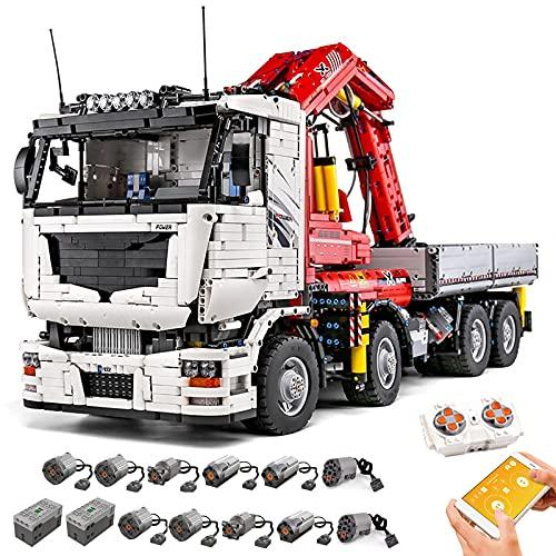 FigureArt Mould King 19002 - Grúa de camión, modelo de camión, 8238 piezas, técnica neumática, grandes bloques de sujeción, compatible con la técnica Lego