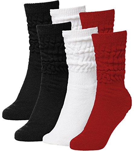 Brubaker Unisex 6er Pack Slouch Socken für Fitness Workout Yoga Gymnastik Wellness Schwarz/Weiss/Rot Gr. 39/42