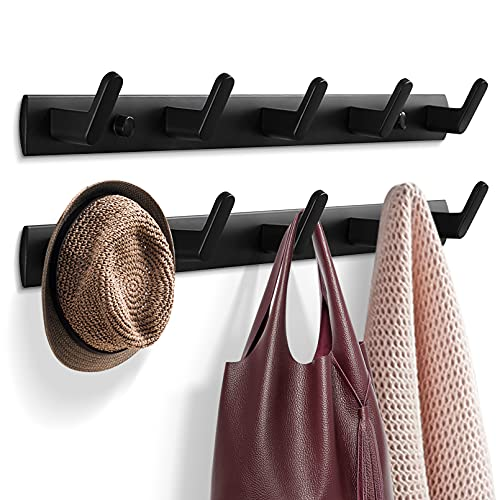 Garderobenhaken, Kleiderhaken für Wand und Tür, stabile Garderobenleiste Aluminium Hakenleiste, Wandgarderobe Handtuchhaken für Bad, Küche (10 Haken, 2 Stück) (Schwarz)