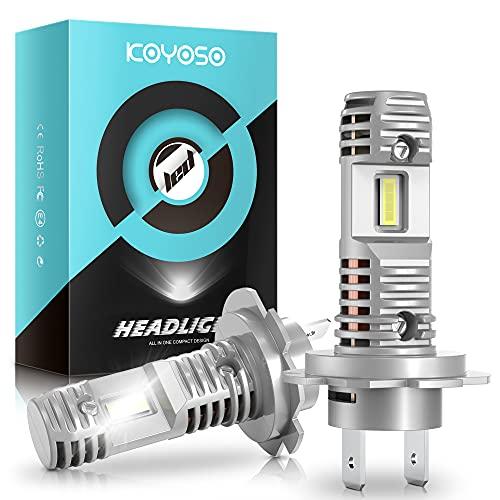 KOYOSO Lampadine H7 LED per Auto, 3800LM 48W LED Abbagliante, Anabbagliante e Fendinebbia 6500K Bianco, DC 12V