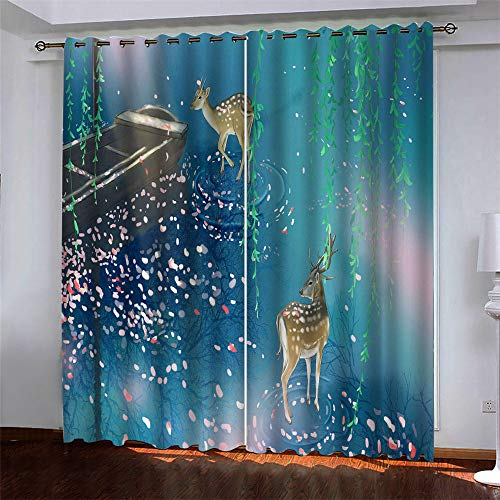 YUNSW Christmas Elk 3D Digital Printing Polyester Fiber Curtains, Garden Living Room Kitchen Bedroom Blackout Curtains, Perforated Curtains 2 Piece Set