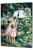 白い桜雑貨屋 ブリキ 看板 ノスタルジックチルドレンメールボックス サイン ボード 看板 レトロガレージ通り 20x30cm