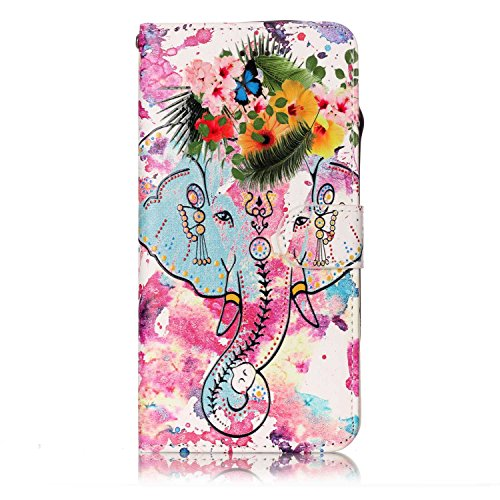 EWCover PU Funda de Cuero para iPhone 6s Plus/iPhone 6 Plus,Cubierta con Tapa con Estampado de Flores de Colores 3D