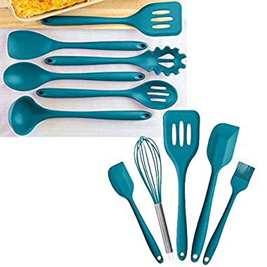 StarPack Value Bundle 0027 - Premium 6-Pc XL Silicone Kitchen Utensils (13.5 ) and Premium 5-Pc Silicone Kitchen Utensils (10.6 ) - Teal Blue