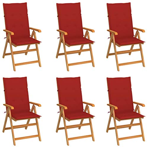 vidaXL 6X Madera Maciza de Teca Sillas de Jardín Cojines Plegables Terraza Exterior Balcón Patio Sillón Asiento Butaca Muebles Mobiliario Rojo