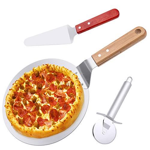 AISHNA Pizzaschaufel, Edelstahl-Radschneider mit,Pizzaheber, 10 Zoll Pizzaspatel. 3 in 1 Bäckerutensilien. Zum Backen Hausgemachte von Pizza und Brot Kuchen im Ofen Grill.