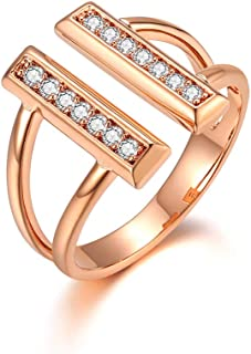 Italina Women Gifts Cubic Zirconia Open Double Bar Ring Engagement Wedding Cluster Ring Rhodium/Gold/Rosegold Plated