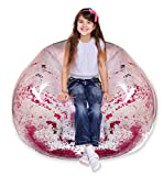 Inflatable Chair - Clear Glitter Inflatable Chair for Kids Bedrooms, Living Rooms, Indoors and Outdoors - Inflatable Chair 90's Style Furniture Glitter Blow Up Chair (Pink)