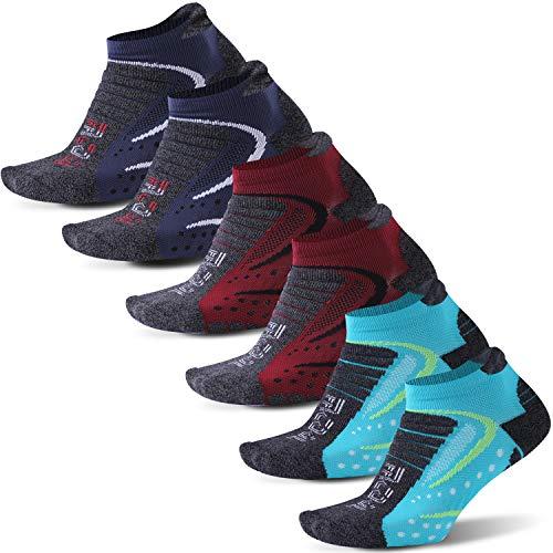 Facool Calcetines deportivos acolchados para hombre Dri-fit, para senderismo, correr, caminar, tobillos/crew, 3/6/8 pares, grandes, 6 pares, multicolor1