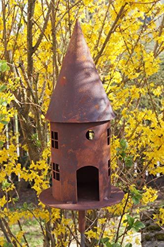 Edelrost Vogelhaus Turm für Stab rund breit 45cm Garten Deko Futterstation