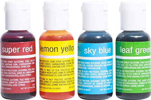Chefmaster - Primary Colors Liqua-Gel Food Coloring Kit - Water-Based Food Coloring Gel - 4 Pack - Highly Pigmented Gel, Create Vividly Colored Desserts, Easy-To-Blend Formula