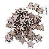 Koobysix 50 Stücke Holz Verschönerung Holz Schneeflocke Stern Baum Winter Festival Weihnachten Form Handwerk Tischdeko,Hochzeitdeko Streudeko DIY Handwerk Verzierungen Naturholzscheiben - 4
