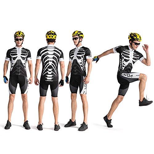 Lixada Herren Radtrikot Set, Atmungsaktiv Quick-Dry Kurzarm Radsport-Shirt + Gel Gepolsterte Shorts, (Schwarz&Weiß, S) - 6
