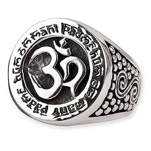 Ring Om Aum Signet mit Mantra 925 Sterling Silber (56 (17.8))