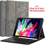 iPad 10.2 Case with Keyboard for iPad 7th Generation 10.2 2019 - Detachable Wireless Keyboard with Pencil Holder Stand Folio Cover for New iPad 10.2 Inch 7th Gen 2019, Gray