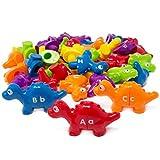 Boley Alphabet Dinos Bucket - 52 Pc Toddler Alphabet Learning Toys - Educational Preschool Dinosaur ABC Puzzle for Toddlers Ages 2+