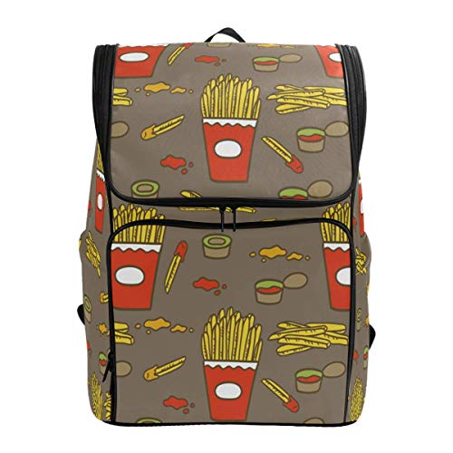 Laptop Rugzak Fries met Saus Patroon Chips Grote Capaciteit Tas Reizen Daypack