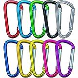 10Pcs Premium Aluminio Mosquetón Set, Pequeño Mosquetón Bloqueo, Multifunción Mini Mosquetón Llavero, Camping Mosquetón (No para Escalada!)