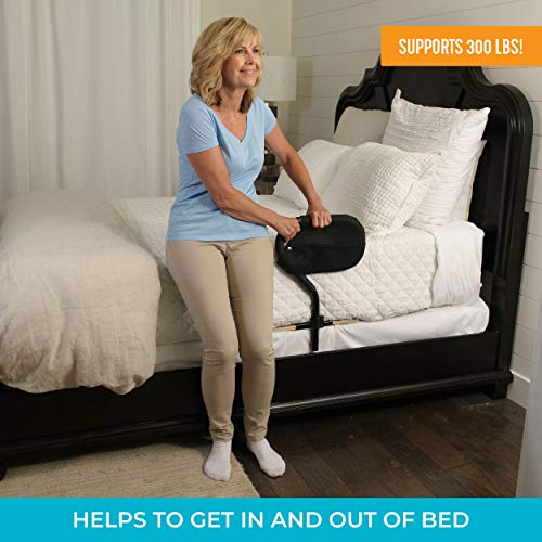 Stander BedCane, Adult Bed Rail and Support Handle, Height Adjustable Elderly Stand Assist with Organizer Pouch
