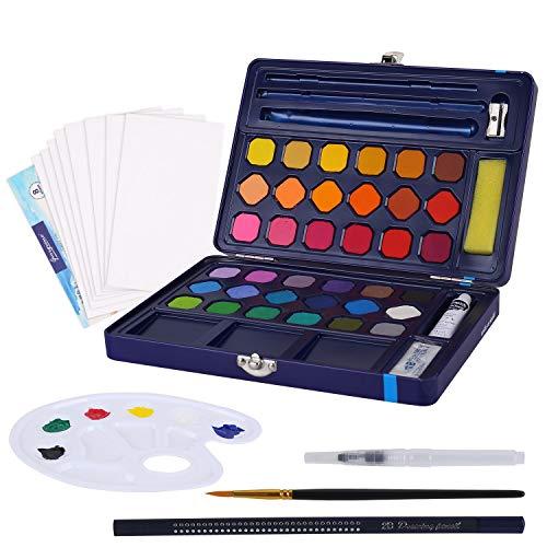 FORMIZON Set de Pinturas de Acuarela, Acuarelas Profesionales por 36 Colores Brillantes, 1 Pincel de Acuarela, 1 Pincel de Tanque de Agua, 8 Papel de Acuarela, 1 Lápiz y 1 Paleta para Acuarelas (Azul)
