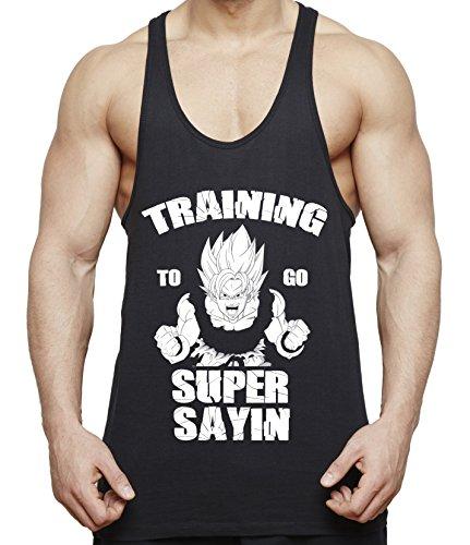 WhyKiki Train to go Super Saiyan Son Goku Camiseta de Tirantes para Hombre Dragon Master Ball Vegeta Turtle Roshi, Farbe2:Negro;Größe2:XXL