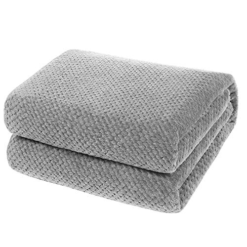 YOOFOSS Manta de Microfibra 150x200 cm Mantas para Sofás Manta de Cama Colcha o Manta de Estar Viajes Cómodo Cálida para Todas Las Estaciones Gris
