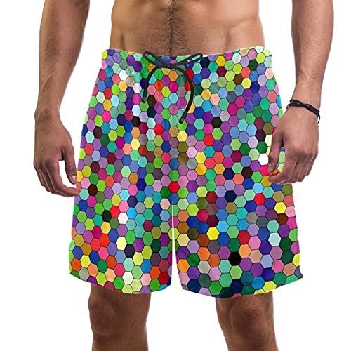 Nananma Colorido Hexágono Geométrico Mosaico Patrón Bañador Trunks Playa Surfing Shorts para Hombres L, multicolor, S/M