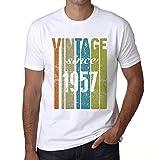 1957 Cumpleaños de 64 años, Vintage Since 1957 Cumpleaños de 64 años Hombre Camiseta Blanco Regalo De Cumpleaños
