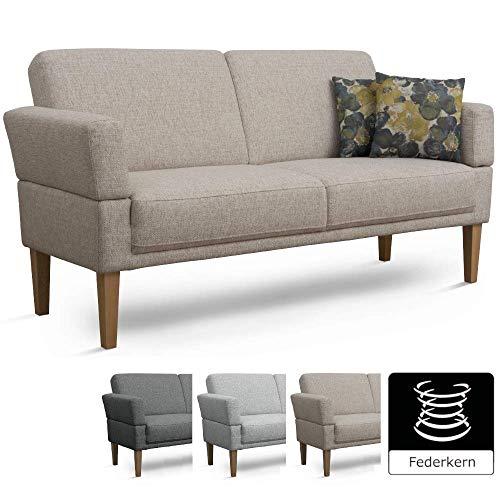 Cavadore 3-Sitzer Sofa Femarn mit Federkern / Küchensofa für Esszimmer oder Küche / 190 x 98 x 81 / Strukturstoff Natur (Beige/Weiß)