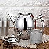 Teiera in acciaio inossidabile - Teiera in acciaio inossidabile per tè e caffè Contenitore per bollitore con filtro a rete rimovibile(1500ML)