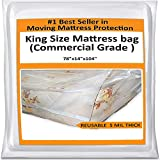 King Mattress Bag Cover for Moving Storage - Plastic Protector 5 Mil Thick Supply -Fits California King and Queen...