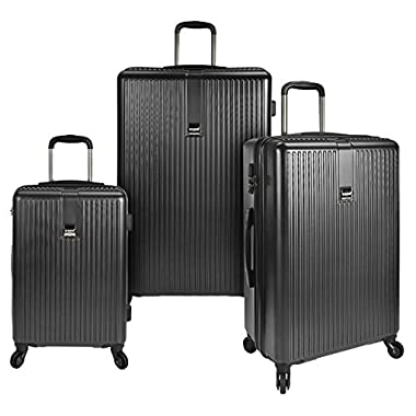 U.S. Traveler Sparta 3-Piece Super Lightweight Hardside 4-Wheel Spinner Luggage Collection with Diamond Cut Texture Finish & Combination Lock, Charcoal (21 /26 /30 )