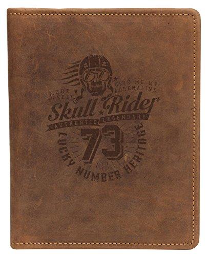 Greenburry A5-Schreibmappe aus Leder mit Totenkopf Motiv I DIN A5 Leder-Konferenzmappe mit Skull Motiv I Geschenk für Motorradfahrer
