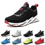 Zapatillas Running Hombre Deportivas Mujer Sneakers Casual para Correr Gimnasio Tenis Fitness Comodos Deportivos Calzado Ligero Transpirable Bambas Negro Blanco G33BlackRed41