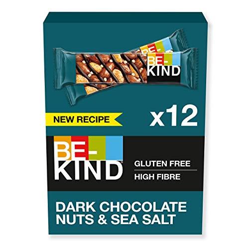 BE-KIND Dark Chocolate Nuts and Sea Salt – Barres de fruits à coque sans gluten – Pack de 12 barres