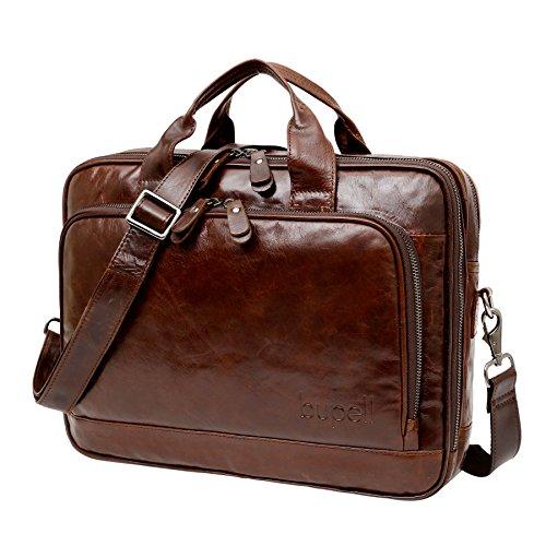 """bupell Borsa in pelle elegante per il ufficio business - Cartella per gli uomini - Portafogli Libri portatile 14 """"- Retro Marrone"""