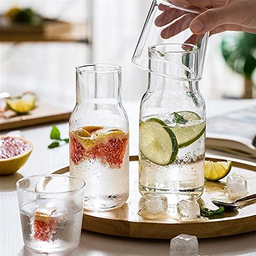 PPuujia Jarra de agua con vaso de vidrio transparente, botella de leche, botella de agua fría y caliente, resistencia a la temperatura (color: 370 ml)