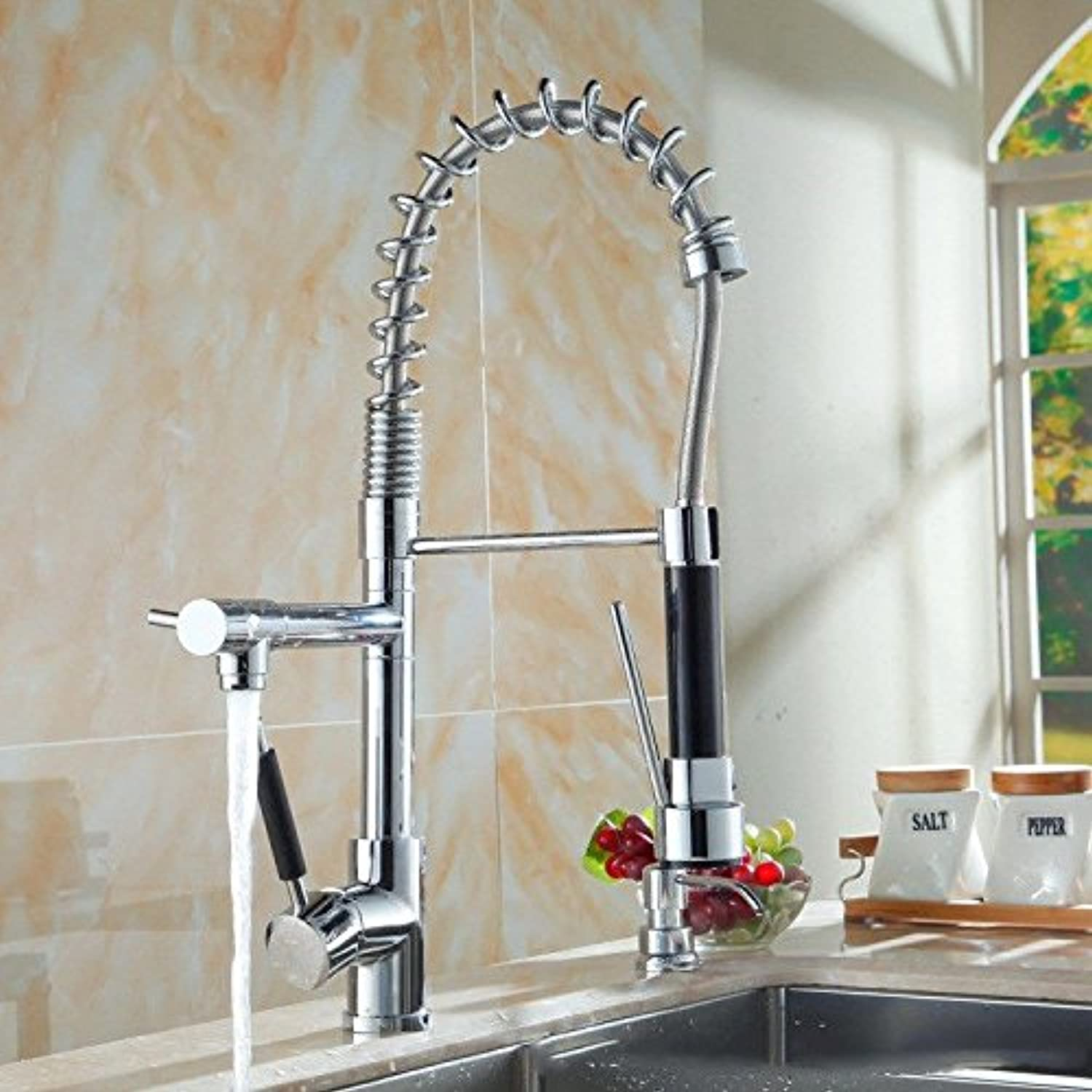 AQMMi Bathroom Sink Mixer Tap Hot and Cold Water Spring Pull-Out Spring Taps for Bathroom Sink