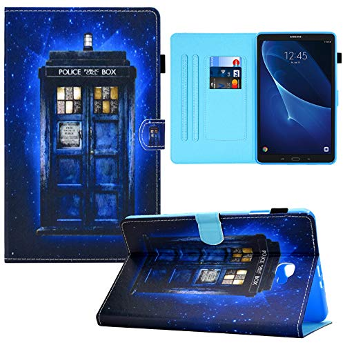 RASUNE Galaxy Tab A 10.1 Case, PU Leather Card Slot with Auto Sleep/Wake Feature Multiple Viewing Stand Case for Samsung Galaxy Tab A 10.1' SM-T580/T585 (2016 Release NO S Pen Version)-Police Booth