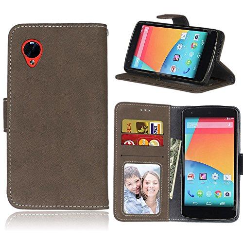 pinlu Hohe Qualität Retro Scrub PU Leder Etui Schutzhülle Für LG Google Nexus 5 Lederhülle Flip Cover Brieftasche Mit Stand Function Innenschlitzen Design Braun
