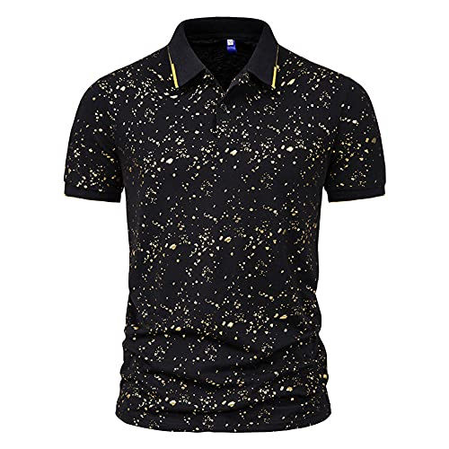 Polo Hombres Deporte Casual Transpirable Hombres Camiseta Moda Imprimir Hombres Manga Corta Negocios Casual Correr Camisa Golf Party Hombres Tshirt C-Black M