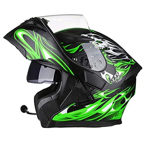 FWZJ Casco abatible para Motocicleta, Casco Modular con Bluetooth, visores Dobles, Cascos integrales, micrófono para Auriculares Incorporado, Aprobado por el Dot, Unisex para Adultos, l